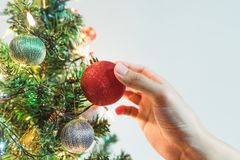 Passi la palla rossa d'attaccatura di Natale sull'albero di Natale per la decorazione nella festa Fotografie Stock Libere da Diritti
