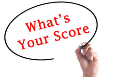 Passi la scrittura a What's del vostro punteggio sul bordo trasparente immagine stock libera da diritti