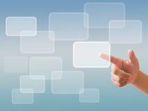 Passi la spinta del tasto su un'interfaccia dello schermo di tocco Immagini Stock