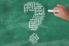 Passi la tenuta del pezzo di parole di domanda di scrittura del gesso nella forma del punto interrogativo sulla lavagna Fotografia Stock Libera da Diritti
