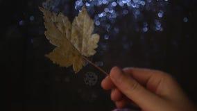 Passi la tenuta della foglia di autunno prima della finestra piovosa video d archivio