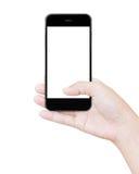 Passi la tenuta della visualizzazione nera del percorso di ritaglio dello smartphone Fotografie Stock Libere da Diritti