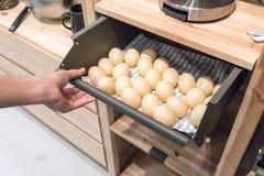 Passi la trazione del cassetto della cucina del metallo riempito di uova false per il DISP Immagine Stock Libera da Diritti