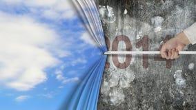 Passi la trazione della parete rosso scuro coperta tenda 2014 del cielo delle nuvole Immagine Stock Libera da Diritti