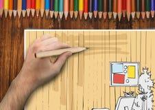 passi le linee dello studio di architettura su una carta nel desck Fotografie Stock Libere da Diritti