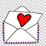 Passi lo schizzo di tiraggio della lettera di amore, al fondo trasparente di effetto illustrazione vettoriale