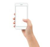 Passi lo Smart Phone della tenuta sul insi clipphing del percorso del fondo bianco Immagine Stock