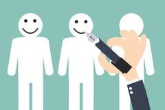 Passi lo smiley sul cliente - la conservazione di scrittura del cliente Fotografia Stock Libera da Diritti