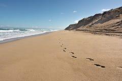 Passi nella sabbia lungo la spiaggia australiana a distanza con la grande s Fotografie Stock