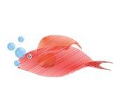 passi a pesce rosso di disegno le mezze bolle acquatiche dell'ambiente Immagine Stock Libera da Diritti