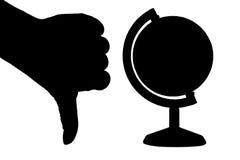 Passi (pollice giù) e un globo Immagini Stock
