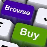 Passi in rassegna e compri le chiavi per acquisto online Fotografie Stock Libere da Diritti