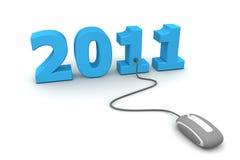 Passi in rassegna il nuovo anno blu 2011 - mouse grigio Immagine Stock