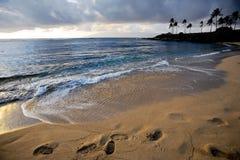 Passi in sabbia al tramonto Fotografia Stock Libera da Diritti