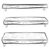 Passi a schizzo di tiraggio lo scaffale d'attaccatura di legno al punto di vista tre, all'altezza d'occhio, al minimo ed all'ango illustrazione vettoriale