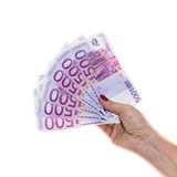 Passi a tenuta 500 soldi dell'euro isolati su fondo bianco Fotografie Stock Libere da Diritti