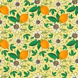 Passiflora della passiflora, frutto della passione su un fondo giallo Modello senza cuciture floreale con i grandi fiori esotici  illustrazione di stock