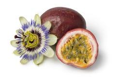 Passiflora edulis fruit and flower. Isolated on white background stock photo