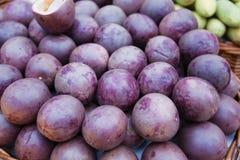 Passiflora edulis (passion fruit). Stock Photo