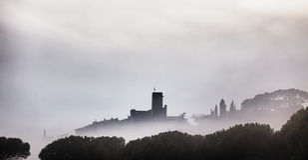 Passignano castle at Lake Trasimeno Stock Photos