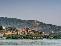 Passignano seen from the Trasimeno lakeside in Umbria Stock Photo