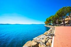 Passignano sul Trasimeno town on the Trasimeno lake, Umbria Ital Royalty Free Stock Photo