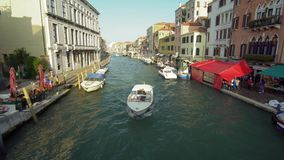 Passing Boat on the Canal in Venice. stock footage