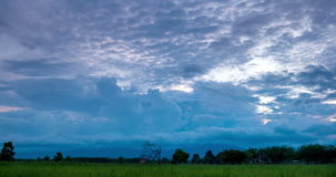 Passing cloud over rice field in evening. Timelapse passing cloud and sunrise over rice field,Thailand stock video