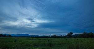 Passing Cloud Over Rice Field In Evening. Timelapse passing cloud over rice field in evening,Thailand stock footage