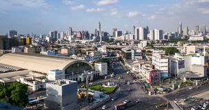 Passing cloud and traffic on road near Bangkok railway station stock video footage