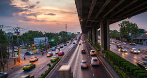 Passing Cloud And Traffic At Twilight In Bangkok. Timelapse day to night of passing cloud and traffic at twilight in Bangkok stock footage