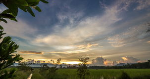 Passing Cloud At Twilight  With Colorful Sky Over Rice Field. Timelapse passing cloud at twilight with colorful sky over rice field at Songkhla,Thailand stock video
