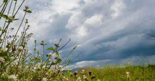 Passing Clouds over grassland In Afternoon stock footage