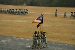 Passing of the Colors. Color Guard passing in review at Army parade at Fort Jackson, SC royalty free stock photography