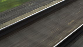 Passing by empty railway on high speed stock footage