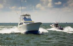 Passing Fishing Boats Stock Image