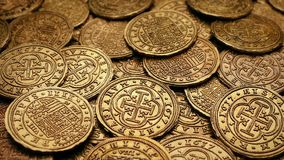 Passing Gold Coins Treasure Pile. Moving closeup of ancient gold coins stock video