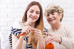 Passing her skills to next generations Royalty Free Stock Images