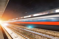 Passing on the high speed train station by night royalty free stock photos