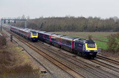 Passing high speed trains Stock Image