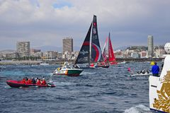 Scallywag And Dongfeng Volvo Ocean Race Alicante 2017. Passing through the many spectator boats during the first leg of the round the World race Stock Image