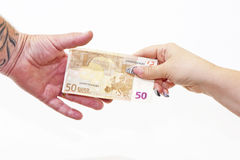 Passing a Money Bill Stock Photography