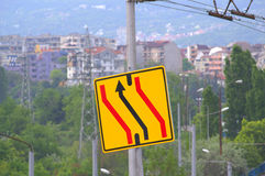 Passing in the oncoming traffic lane Royalty Free Stock Photo