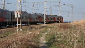 Passing passenger train. The Russian Railways. stock video footage