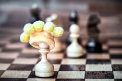 Passing pawn. from pawns to queens. Royalty Free Stock Photography