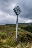 Passing place road signal in Scotland. For overtaking Stock Images