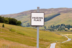 Passing Place, rural Perthshire, Scotland. A common sight on narrow Scottish Highland roads, a passing place, this one in Glenlyon, Perthshire, Scotland Royalty Free Stock Images