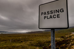 Passing Place sign in Northern Scotland. Royalty Free Stock Image