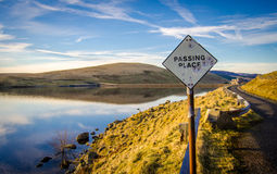 Passing Place Sign Beside Scottish Lake Stock Photo