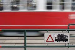 Passing Rushing tram Royalty Free Stock Image